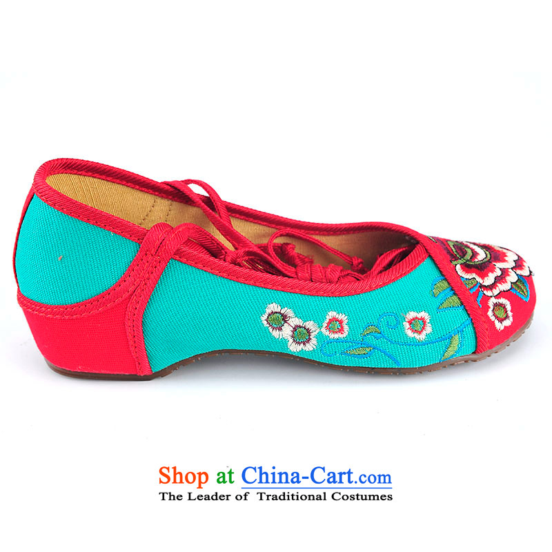 Better well women shoes spell-mesh upper embroidered womens single shoe beef tendon bottom small slope behind with increased 3.5 cm leg straps embroidered shoes of ethnic leisure shoesB525A62 red and green35