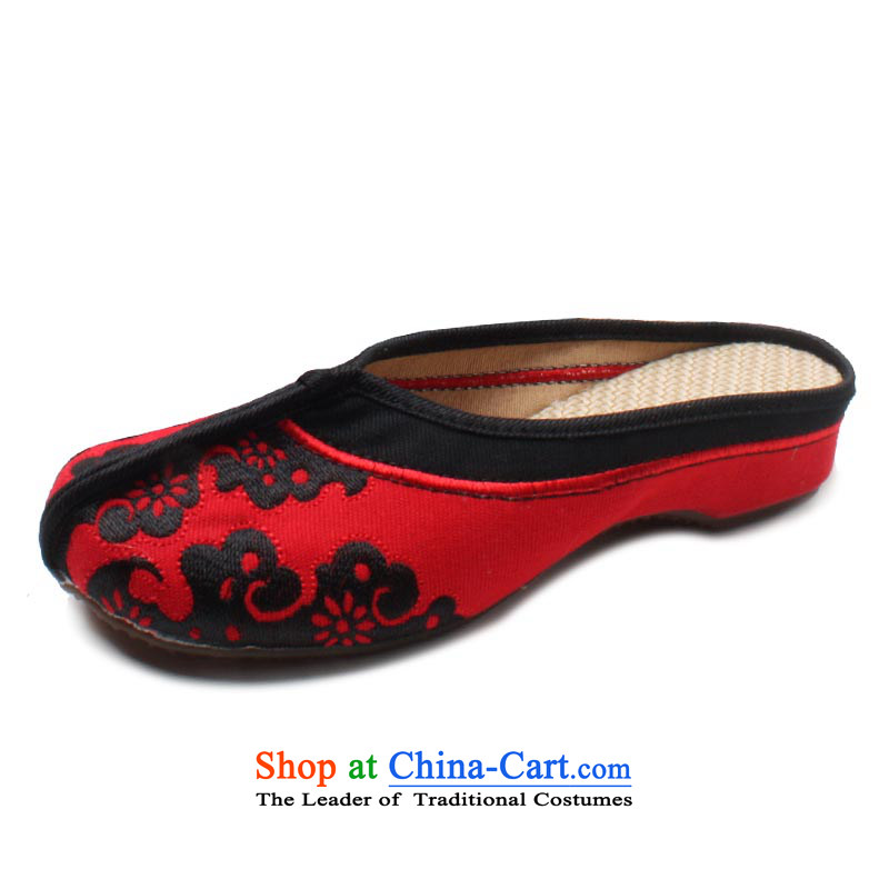 Yu Fu Xuan of Old Beijing Summer 2015 mesh upper new women's shoe ethnic embroidery linen sockliner cool black slippers,聽36