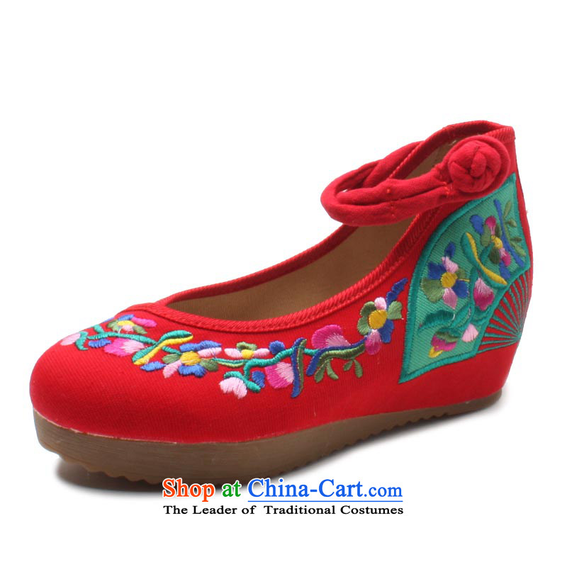 Yu Fu Xuan Old Beijing mesh upper women shoes new summer of traditional manual embroidered shoes, Ms. ethnic single shoe ankle straps with a thick flat bottom-up help increase within 35 Red Shoes