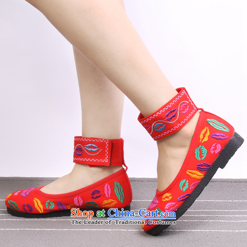 Mesh upper with old Beijing stylish embroidered shoes classic embroidery women shoes with soft bottoms mother flat shoe 1710 1710 Red聽39