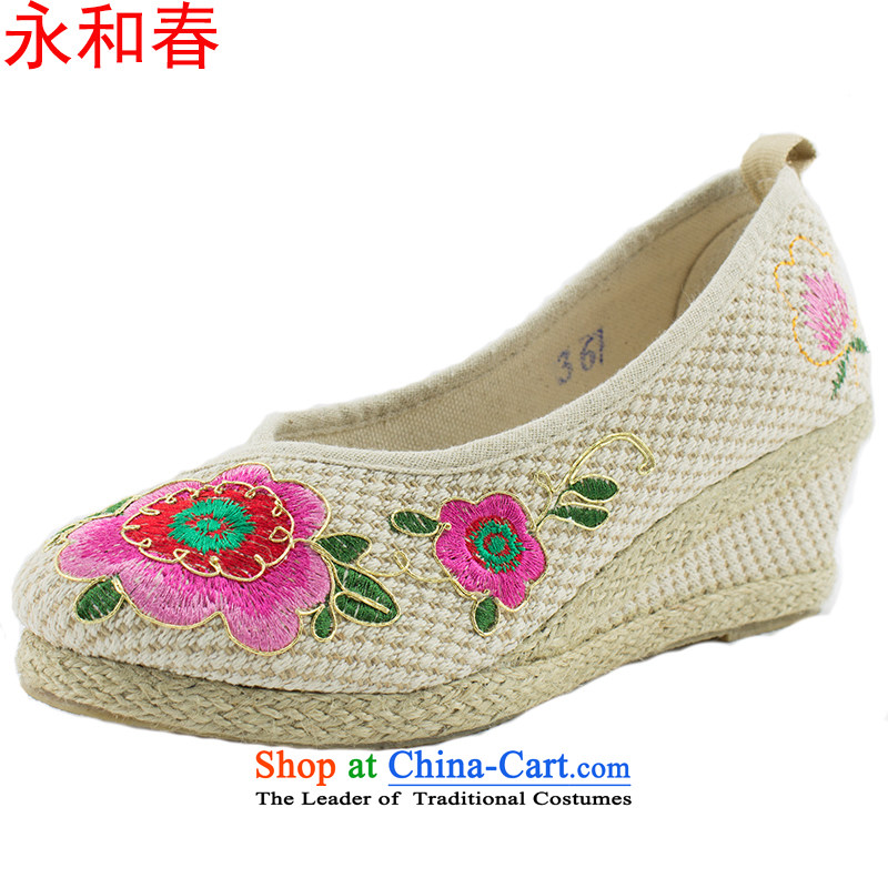 Genuine Old Beijing modern nation-mesh upper embroidered shoes smooth increase women shoes shoes MOM 1707 1707 35 beige shoes