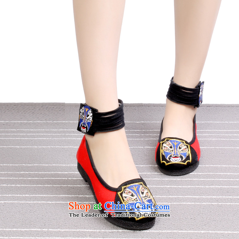 Mesh upper with distinguishing feature of Old Beijing embroidery embroidered shoes, women's shoe mother then Dance Shoe shoes 1701 1701 Red 35