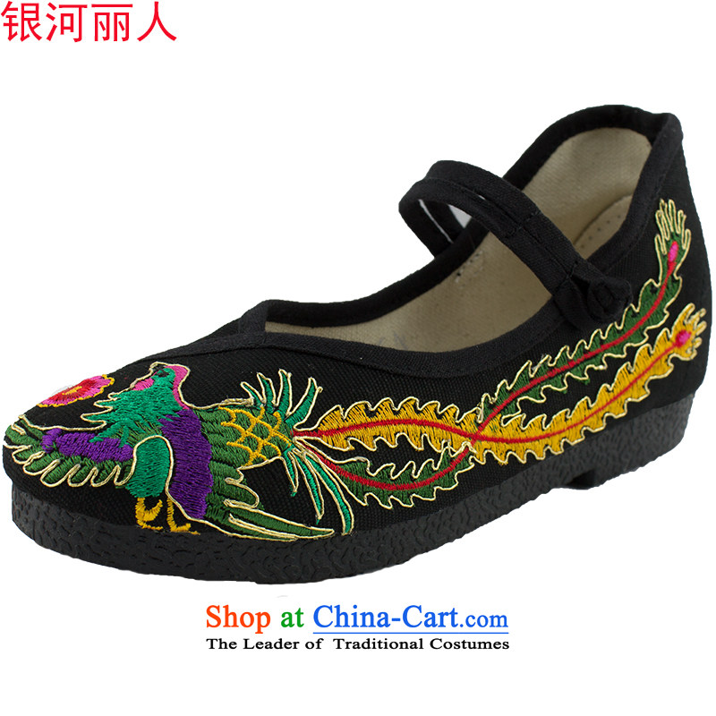 2015 new old Beijing mesh upper women shoes embroidered shoes plaza floor a super-floppy dancing shoes breathable single shoe 1702 1706 Black 39