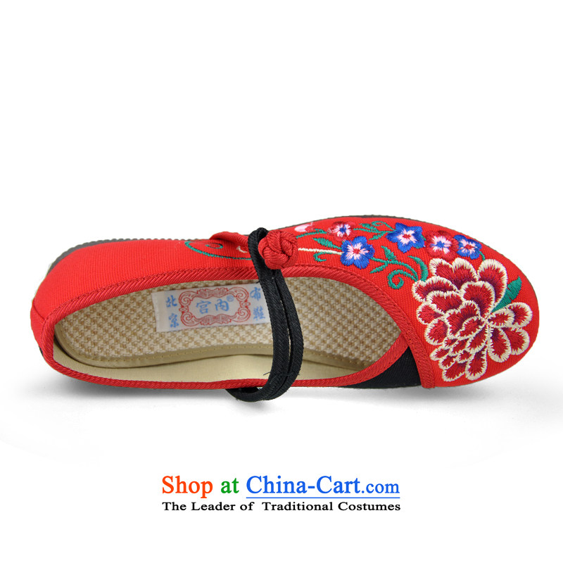 Mesh upper with intrauterine old Beijing embroidered shoes wild personality of ethnic mesh upper with flat shoe female single shoe beef tendon bottom Dance Shoe mother shoe red35, intrauterine (gongnei) , , , shopping on the Internet