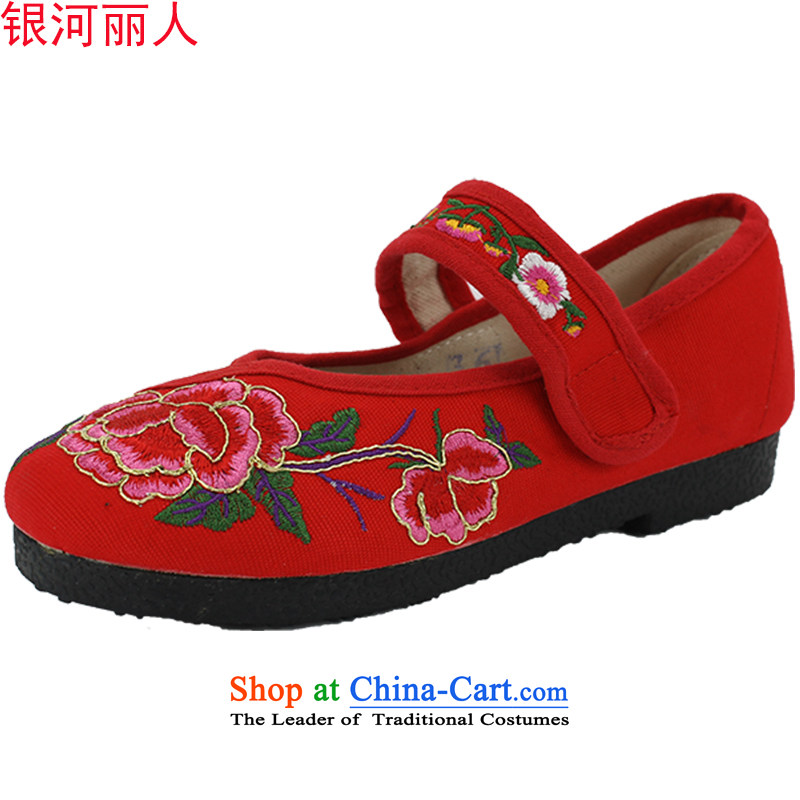 Mesh upper with genuine old Beijing women shoes of ethnic embroidered shoes and contemptuous of Mudan flat with square dancing shoes women shoes 1703 1703 Red 37