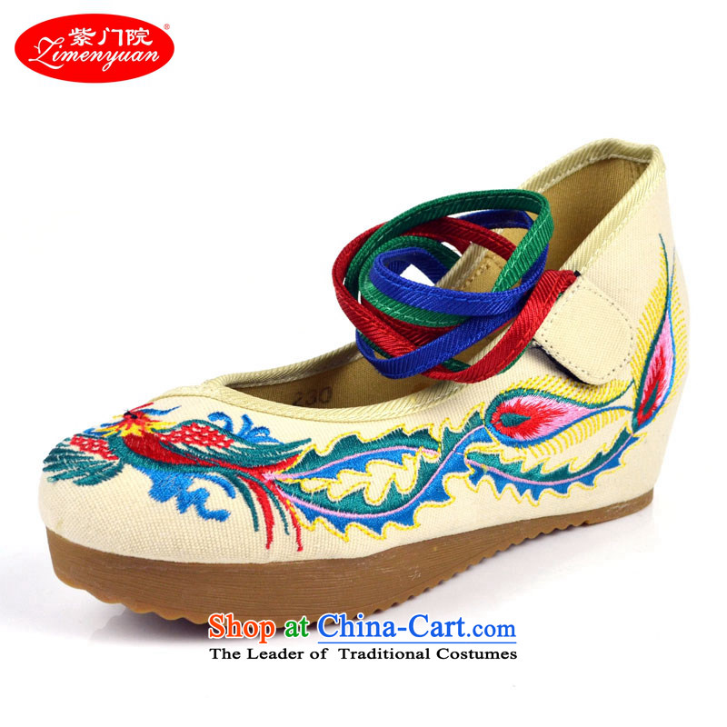 The first door of Old Beijing mesh upper couture embroidered shoes of ethnic women within the high-heel shoes increased light beige shoes Phoenix Embroidery Port聽36
