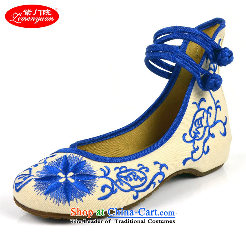 The first door of Old Beijing mesh upper female embroidered shoes stylish single shoe ethnic women shoes with shallow port shoes slope tray clip retro Blue 39
