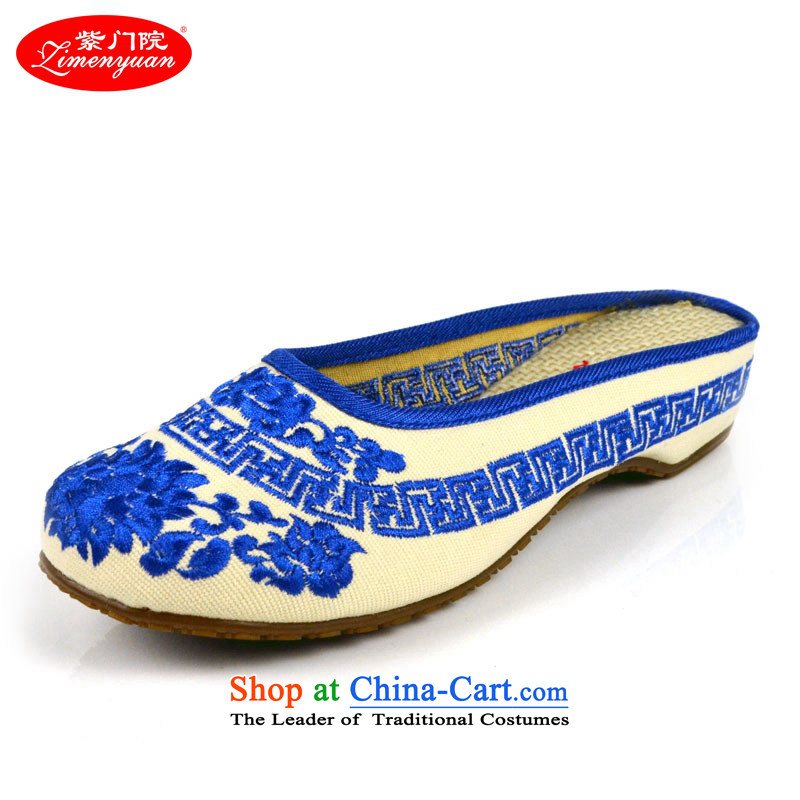 The first door of Old Beijing mesh upper couture slippers embroidered shoes with drag and drop the packet header is the slope of ethnic daily slippers female Blue 37