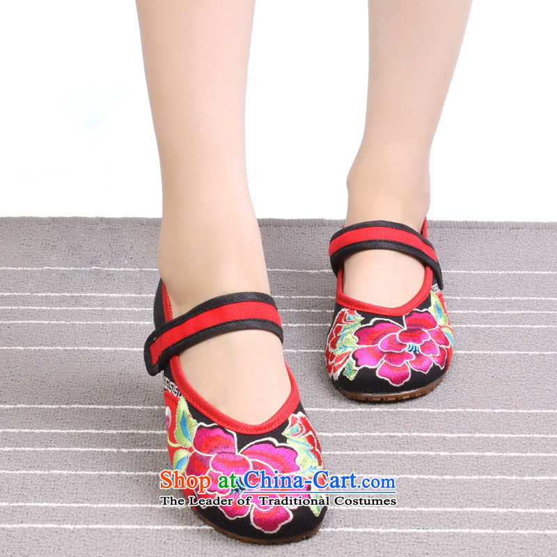 The spring and summer months old Beijing mesh upper ethnic embroidered shoes, increase women's shoes and stylish single Shoes, Casual Shoes 1802 1802 Black 37
