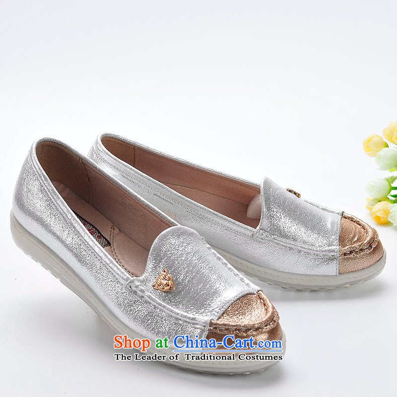 Better well women shoes mesh upper couture mesh upper end of jelly tsutsu shoes comfortable shoes flat bottom with popular and Ho Ping Kim silver fashion woman shoes B315-08 single white 37