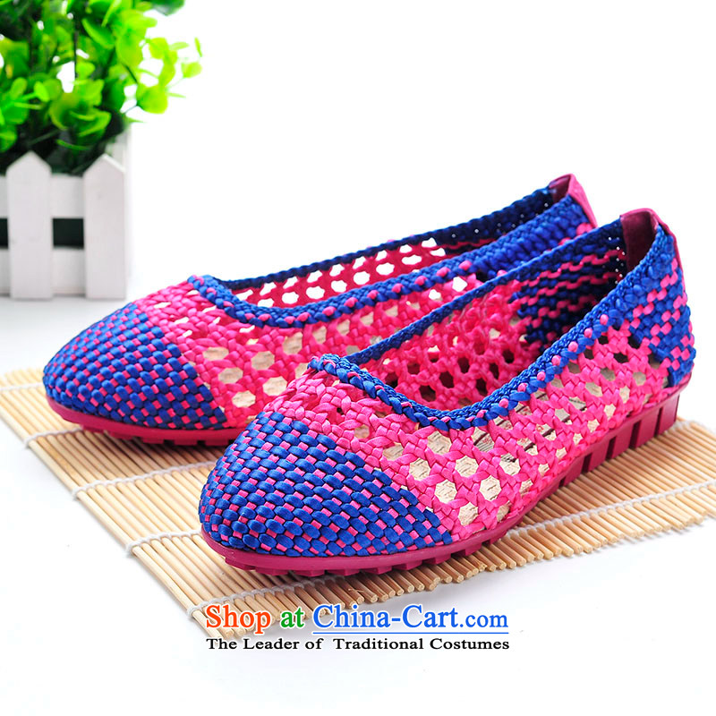 Better well women shoes mesh upper new summer products female hand woven sandals engraving breathable stylish girl sandals ultra-soft color sole Leisure Comfort Women's Shoe聽B375-19 toner聽37