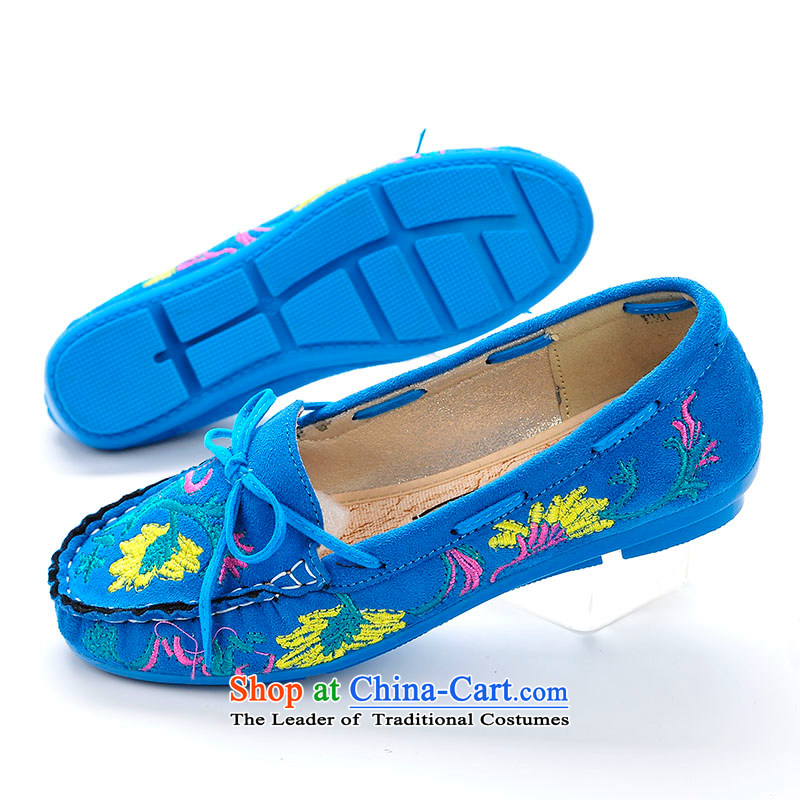 Better well women shoes mesh upper boutique seamless wrinkle embroidered shoes flat bottom small bow tie sutures buns manually old Beijing mesh upper with stylish shoe leisure shoes women shoesB399-16 Blue35