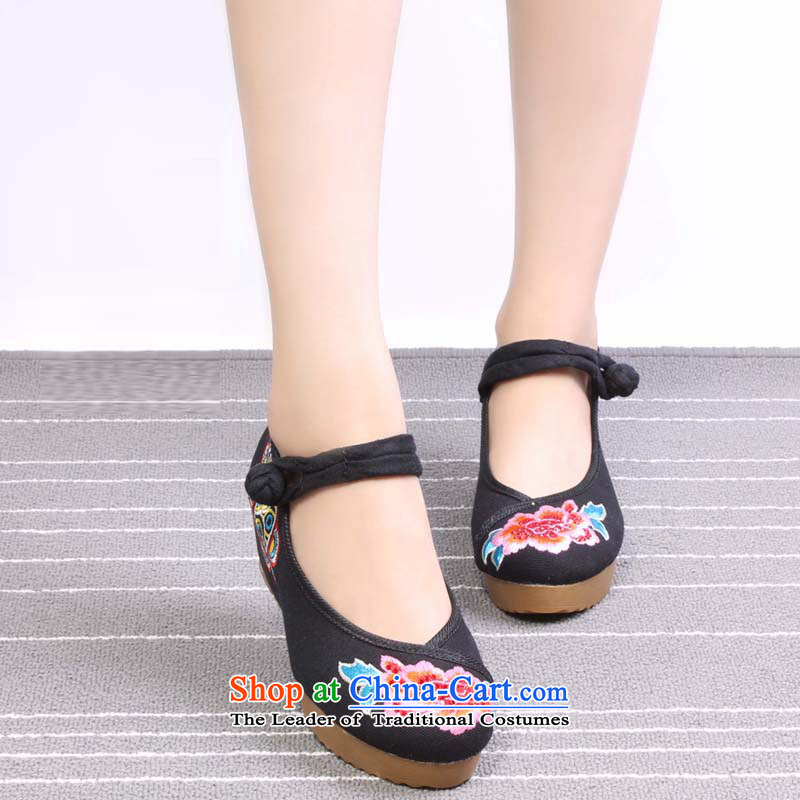 Mesh upper with old Beijing Modern woman shoes of ethnic classic embroidered shoes increased within the comfort mother shoe 0027 002737, wing and the Spring Black (yonghechun) , , , shopping on the Internet