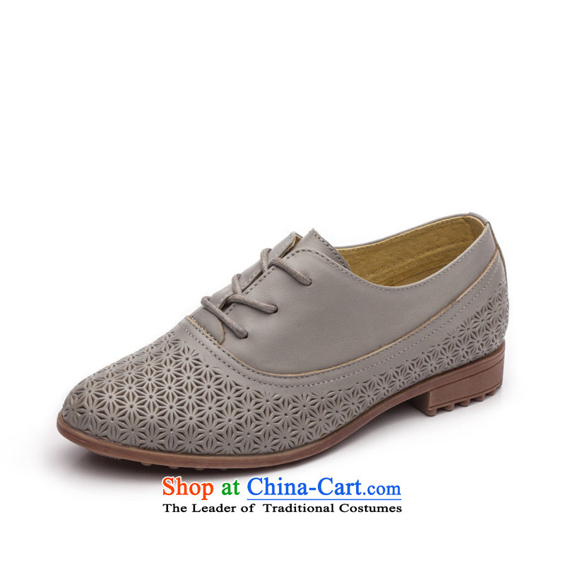 Ipswich-three in 2014 carved stylish single shoe female head layer cowhide flat with a pointed to the British air-BLOK Oxford shoes D37 Gray 38
