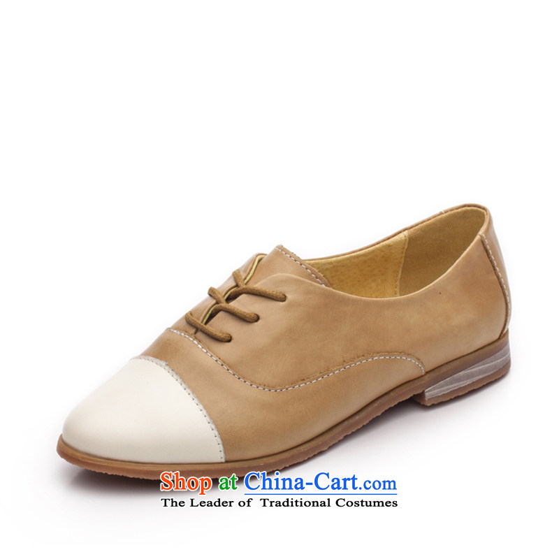 2015 Spring Ibrahim pointed leather shoes with flat tether strap to the British Oxford shoes spell color wind women shoes D57 ANTHURIAM37