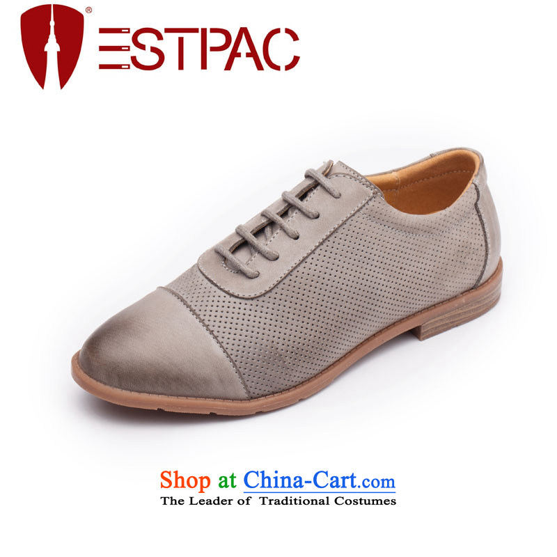 2015 Spring Ipswich-three in England with flat shoe leather engraving Rome women shoes erase color retro Oxford shoes GRAY D02 . 38