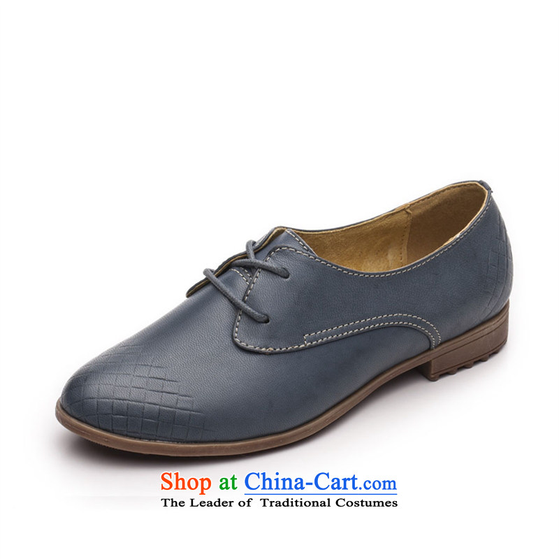 Ibrahim fall to the British Womens single shoe-wind with leather Oxford shoes pointed deep tether women shoes single shoe D40 Blue 37