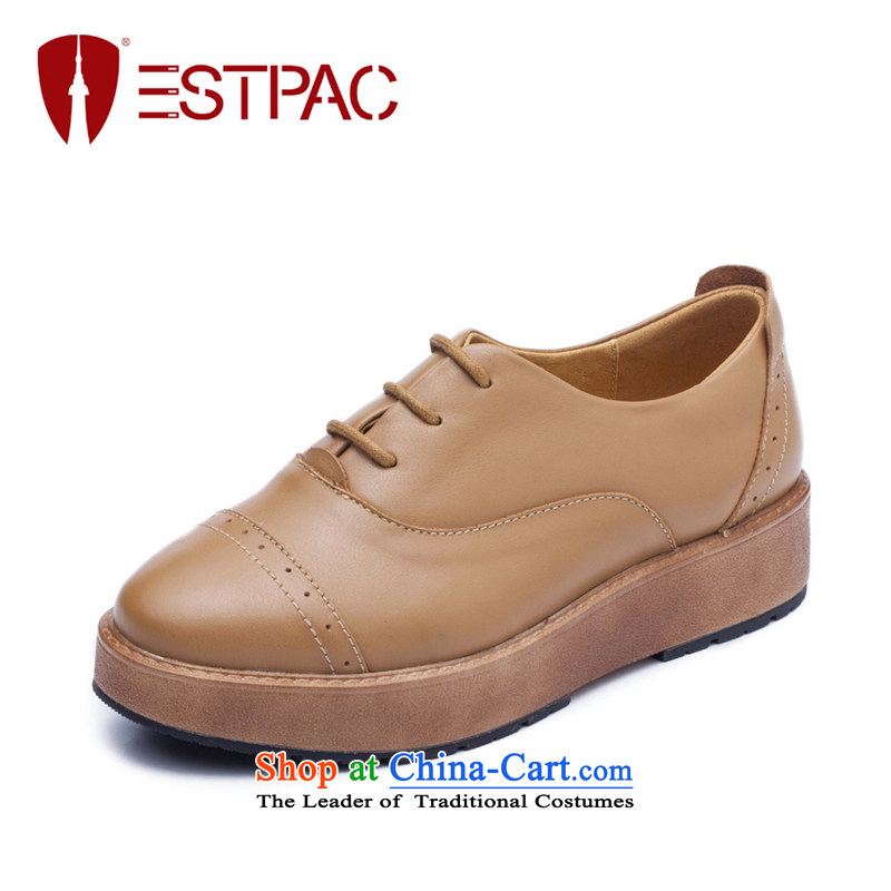 Ibrahim England autumn wind single shoe flat shoe leather point strap thick platform shoes, casual women shoes, Brown 39 H03