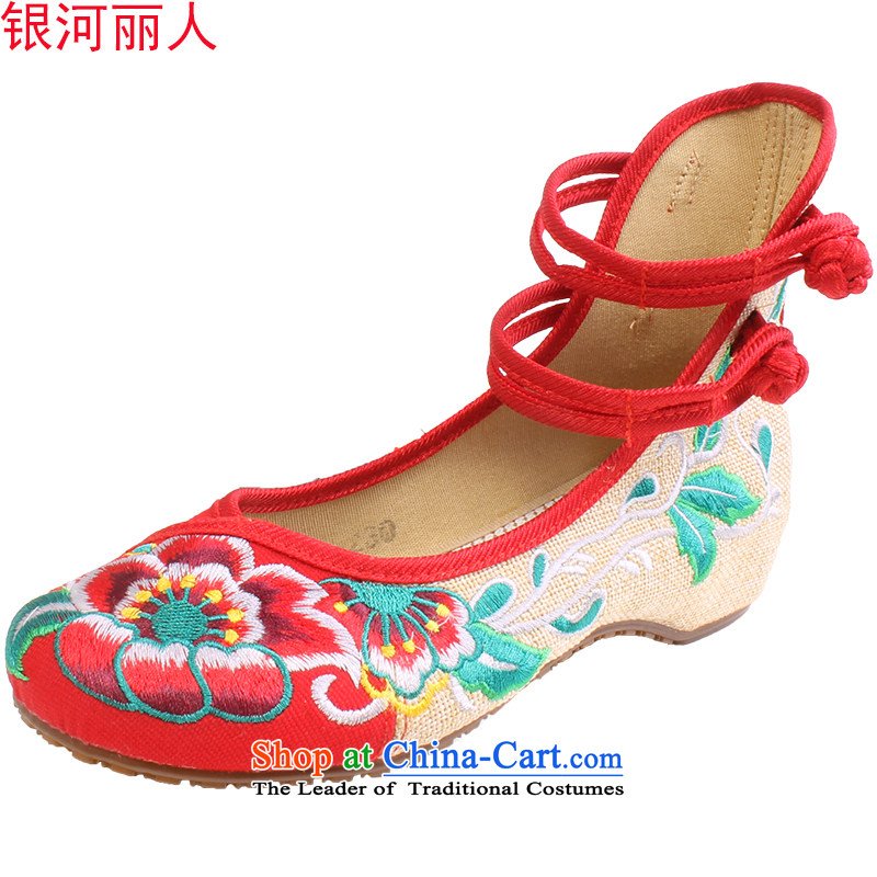 Mesh upper with old Beijing women shoes with dual mesh upper increased within square dancing shoes mother shoe embroidered shoes women shoes 0001 0001 Red 40