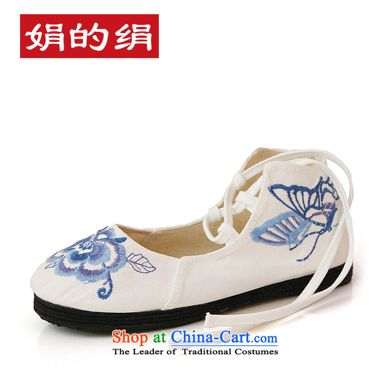 The silk autumn old Beijing mesh upper ethnic embroidered shoes bottom of thousands of women shoes blue strap flat bottom click Shoes, Casual Shoes 031 white 37