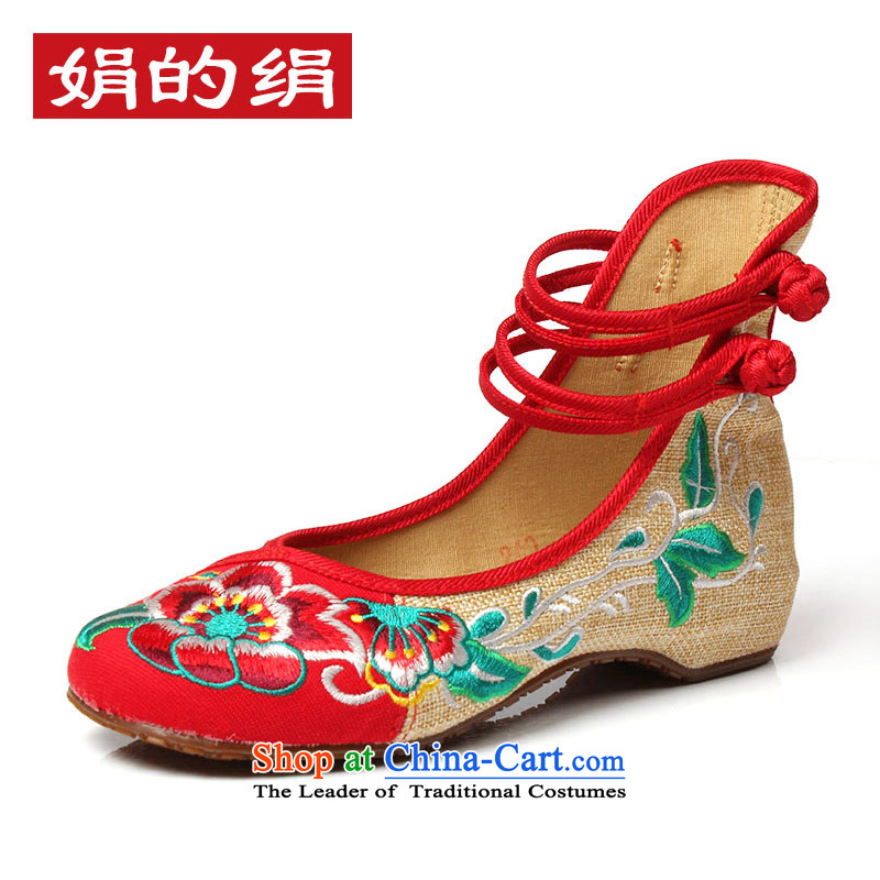 The silk autumn old Beijing mesh upper embroidered shoes with low women shoes of Ethnic Dances with slope rising within the shoes A412-151 Red 37