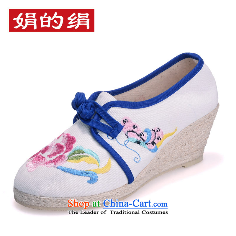 The silk autumn old Beijing mesh upper ethnic embroidered shoes with retro blue-slope the the high-heel shoes 818-17 single leisure white 35