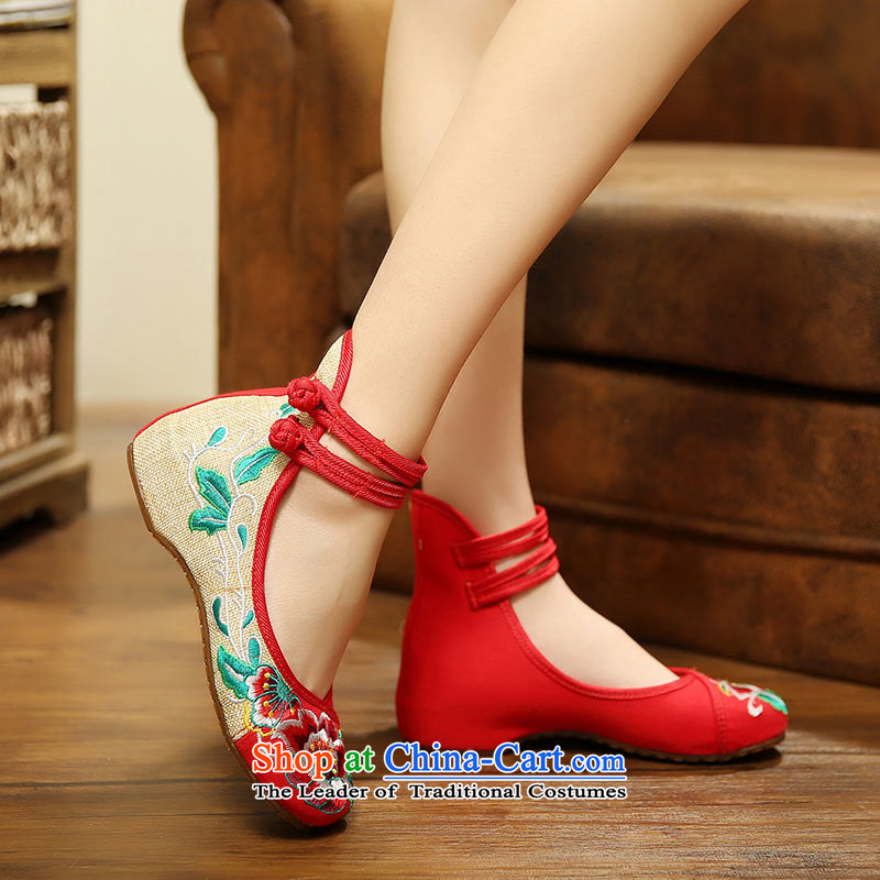 The silk fabric of Old Beijing embroidered shoes fall with women shoes nation low wind increased within the dance with shoes A412-151 slope red 38, Ms Shelley silk , , , shopping on the Internet