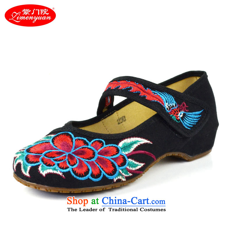 The first door of Old Beijing Ms. mesh upper embroidered shoes stylish single shoe with ethnic women s shoes embroidery velcro beef tendon bottom light port 39 black shoes