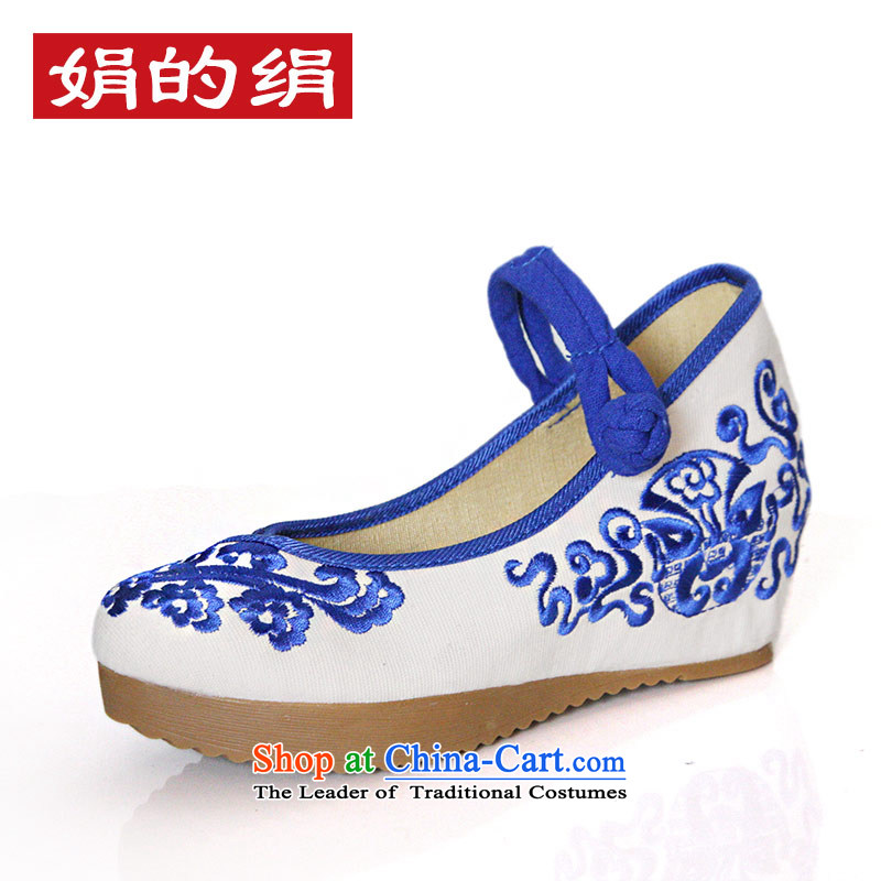The silk fall within the old Beijing mesh upper ethnic embroidery increased thick blue shoes with high with slope shoes 108-13 Blue 39