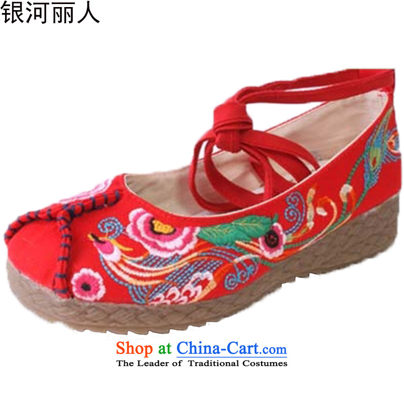 Support C.o.d. genuine old Beijing Phoenix opera Peony embroidered shoes women shoes to the tether strap soft bottoms womens single shoe 4404 4404 39 (for the 38 red foot wear