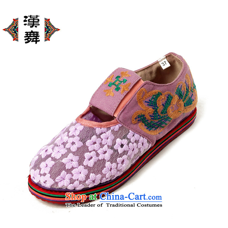 Hon dance of Old Beijing ethnic woman shoes mesh upper embroidered shoes stylish engraving flat bottom female lace breathable thousands of flowers wear shoes bottom of Kam pink flower39