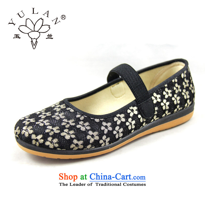 Magnolia Old Beijing spring and autumn, the Women's Mesh upper shoes floral light port soft bottoms flat bottom foot kit has a non-slip wear sneakers older leisure shoes black40