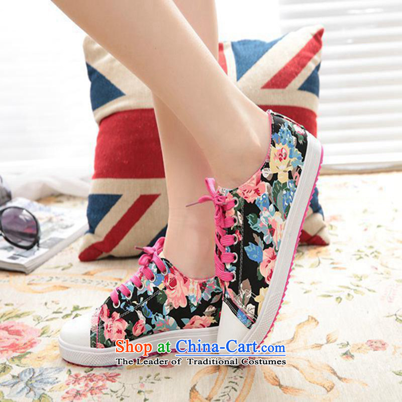 2015 Classic Small stylish saika candy colored canvas shoes flat bottom breathability female canvas shoes sweet Xt_528qc shoes black36 students