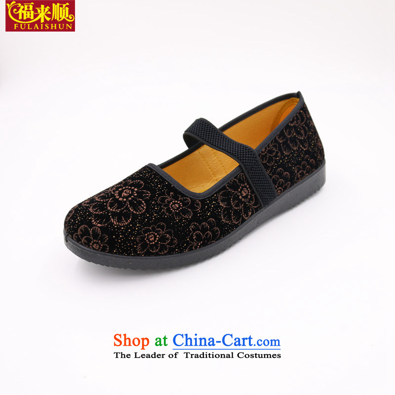 The Old Beijing with elastic female old lady shoes black satin embossing grandma shoes light anti-slip womens single lady shoes mesh upper- 1 large brown37