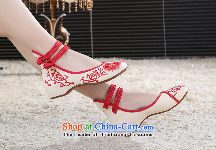 Oriental Kai Fei 2015 new mother shoe retro blue wind increased national embroidered shoes of Old Beijing Women's Shoe Square Mesh upper Dance Shoe black porcelain 37 pictures, prices, brand platters! The elections are supplied in the national character of distribution, so action, buy now enjoy more preferential! As soon as possible.