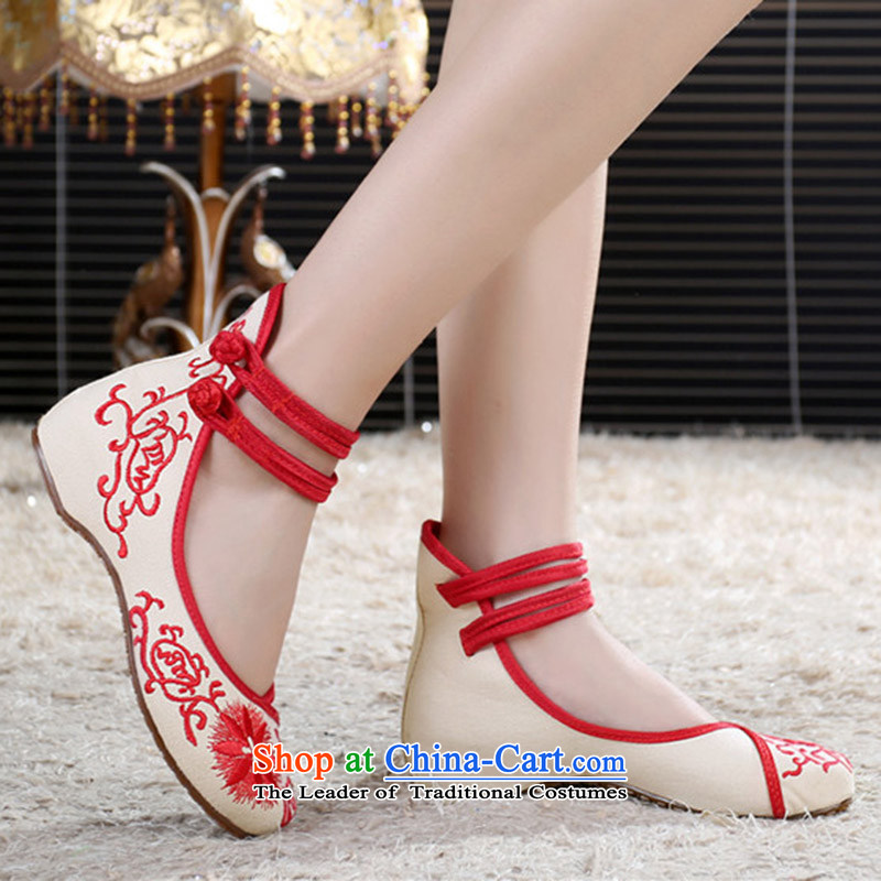 Oriental Kai Fei 2015 new mother shoe retro blue wind increased national embroidered shoes of Old Beijing Women's Shoe Square Mesh upper Dance Shoe black porcelain 37, Oriental Kai Fei (DONGFANGKAIFEI) , , , shopping on the Internet