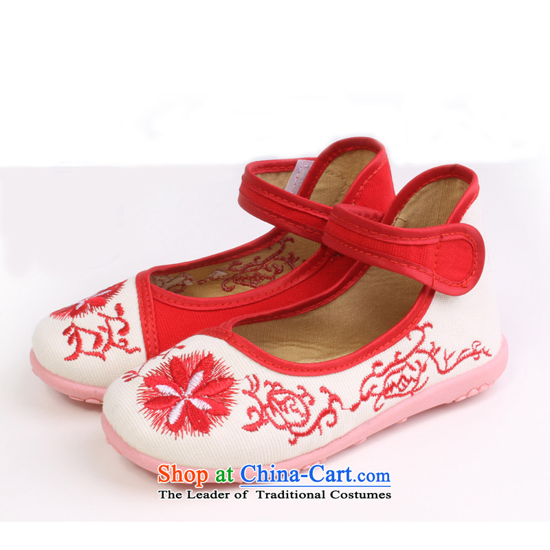 Girls dancing shoes of Old Beijing children's shoes mesh upper embroidered shoes bottom beef tendon baby Shoes Show shoes students shoes 8201 8201 safflower porcelain 30 yards/20cm long