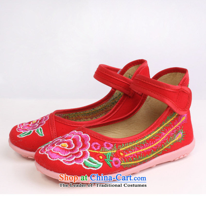 Girls dancing shoes of Old Beijing children's shoes mesh upper embroidered shoes bottom beef tendon baby Shoes Show shoes students 8205 8205聽28 Red Shoes Codes_18cm long.