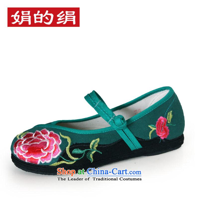 The silk autumn old Beijing mesh upper ethnic embroidered shoes a field-flat bottom shoe single shoedark green38 88-99 18