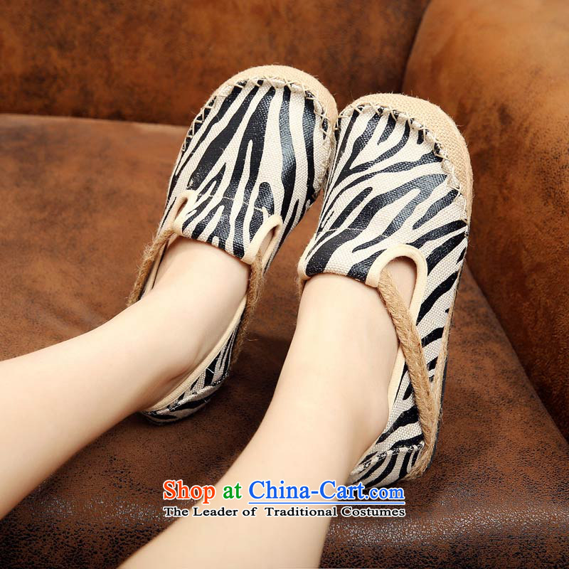 The silk fabric of Old Beijing National wind shoe linen round head flat bottom fall mainly casual shoes S133 single black 36-youns silk , , , shopping on the Internet