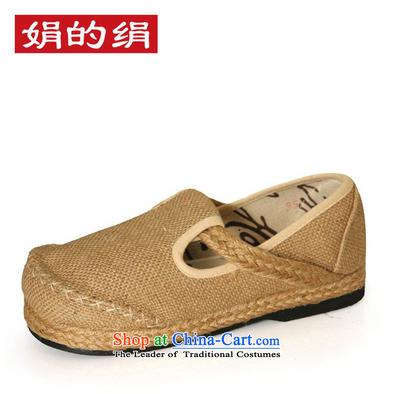 The silk autumn old Beijing mesh upper ethnic linen women shoes round head flat bottom relaxing and comfortable shoes S135 then headed Yellow 37