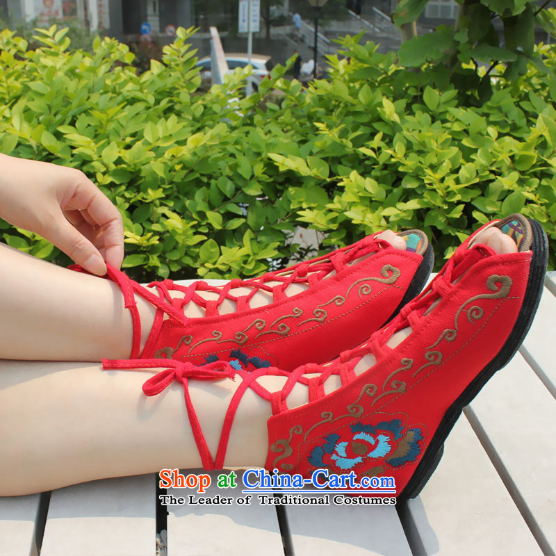 2015 new old Beijing women shoes single shoe mesh upper summer breathable mesh upper with thousands of bottom leisure fish tip sandals traditional ethnic wind embroidered shoes red 1311 36