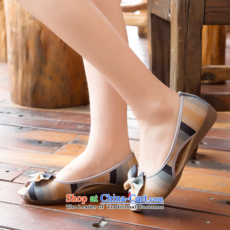 Chung Pavilion Old Beijing Summer sandals female mesh upper non-slip engraving slope with a flat bottom mother leisure pregnant women single flax leisure shoesA-302Blue36