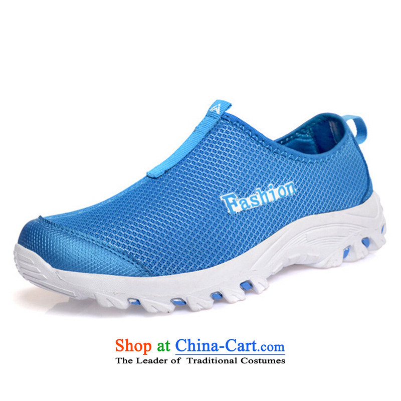 Stylish shoe RZWOLF mesh outdoor leisure shoes white-blue couples 37