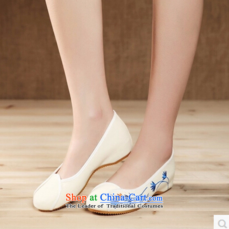 Mesh upper with new national wind summer embroidered shoes with soft, leisure shoes single shoe China wind women shoes with cream 39 slopes of breathable