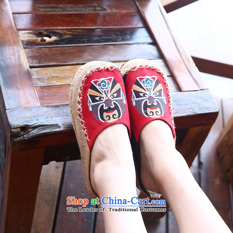 Chung Pavilion Old Beijing National wind-masks couples shoes retro version relaxd linen mat slippers rubber sole mesh upper with trifles A-109 Red聽39