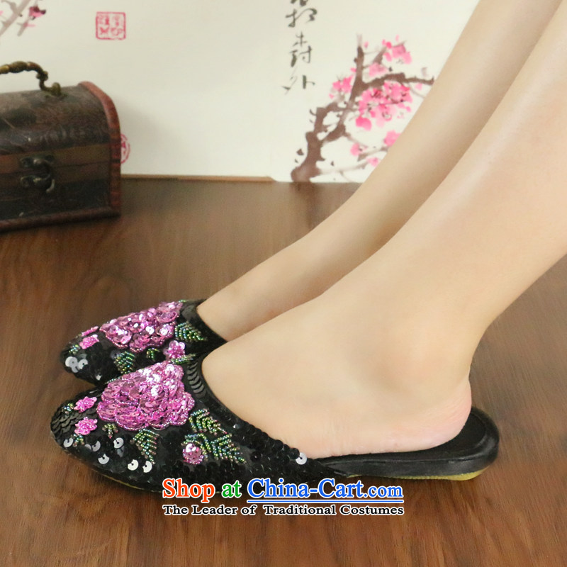 Chung Pavilion retro ethnic embroidered slippers shoe-lit chip slippers damask beef tendon bottom habitat upscale marriage A-101 slippers black size is too small. 38