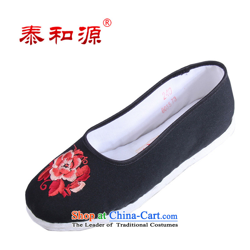 The Thai and source of Old Beijing classic ethnic Mudan mesh upper embroidery female cloth shoes breathability and comfort women shoes manually embroidered ground cloth sewing backplane leisure shoes black black聽35