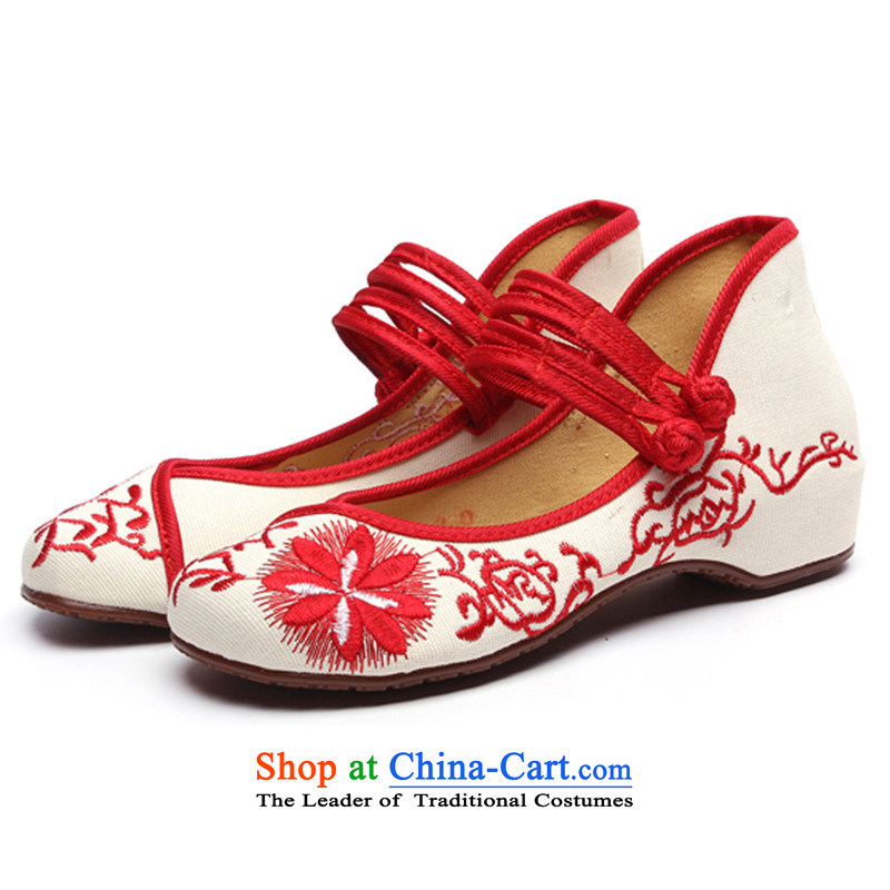 Summer winds with slope of the WOMEN'S NATIONAL embroidered shoes increased within single shoe mesh upper beef tendon backplane breathable Red36