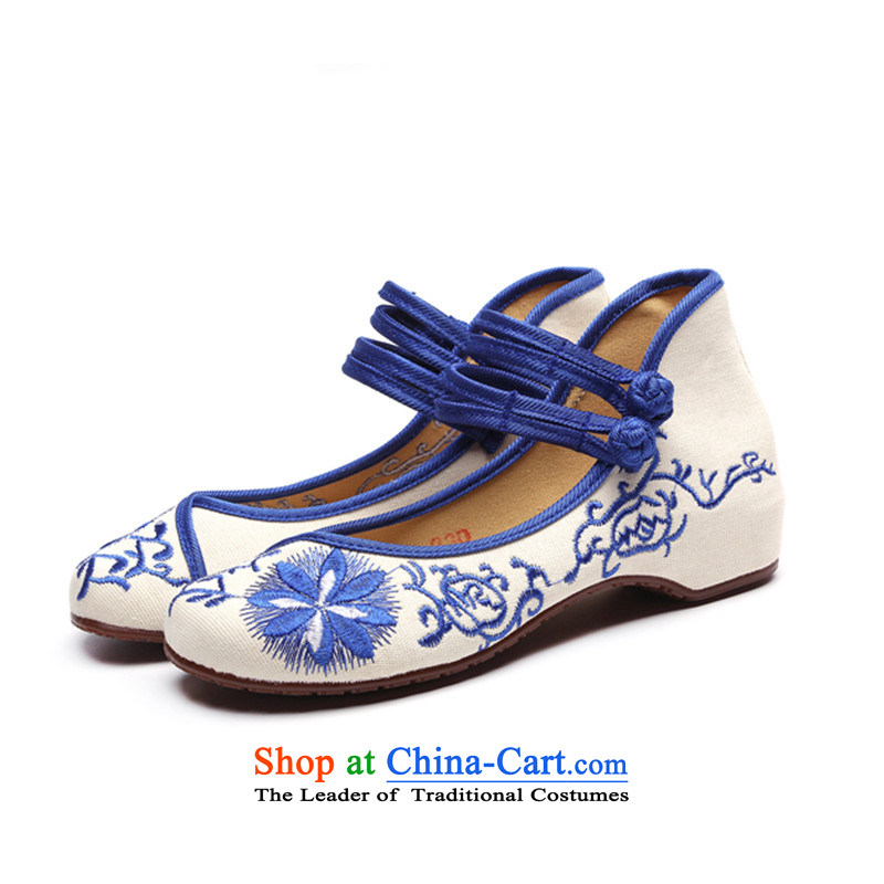 Summer winds with slope of the WOMEN'S NATIONAL embroidered shoes increased within single shoe mesh upper beef tendon backplane breathable Blue 37